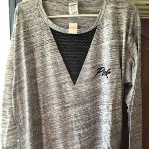Long sleeve gray Victoria's Secret pink top